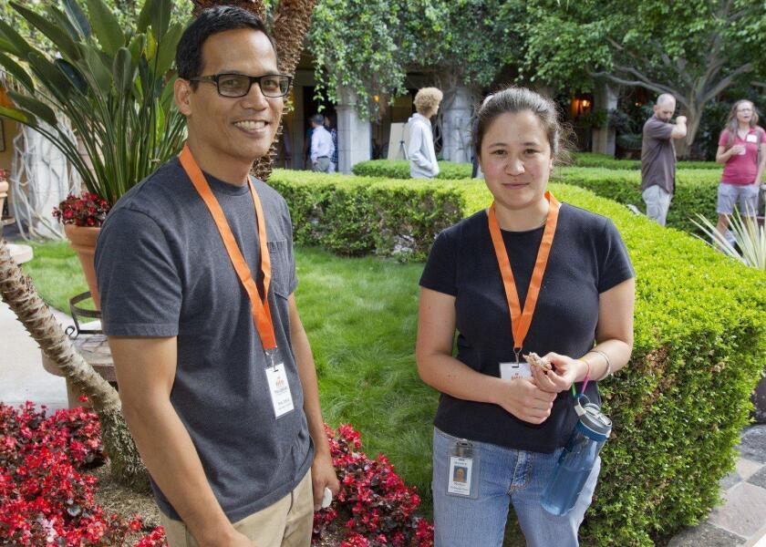 Volunteer teachers Phil Cruz and Michiyo Wellington-Oguri