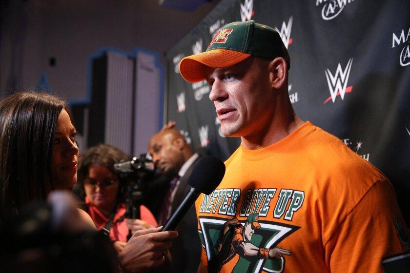 WWE superstar wrestler John Cena attends the Make-A-Wish celebration event for his 500th wish-granting milestone.