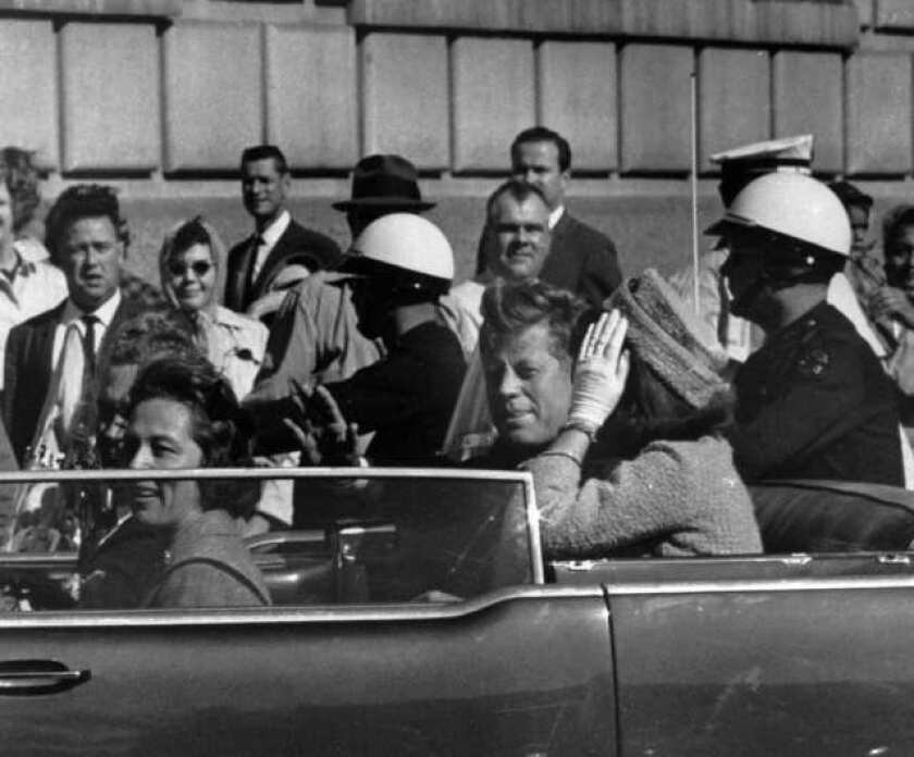 President Kennedy in the motorcade just before he was shot in Dallas on Nov. 22, 1963.