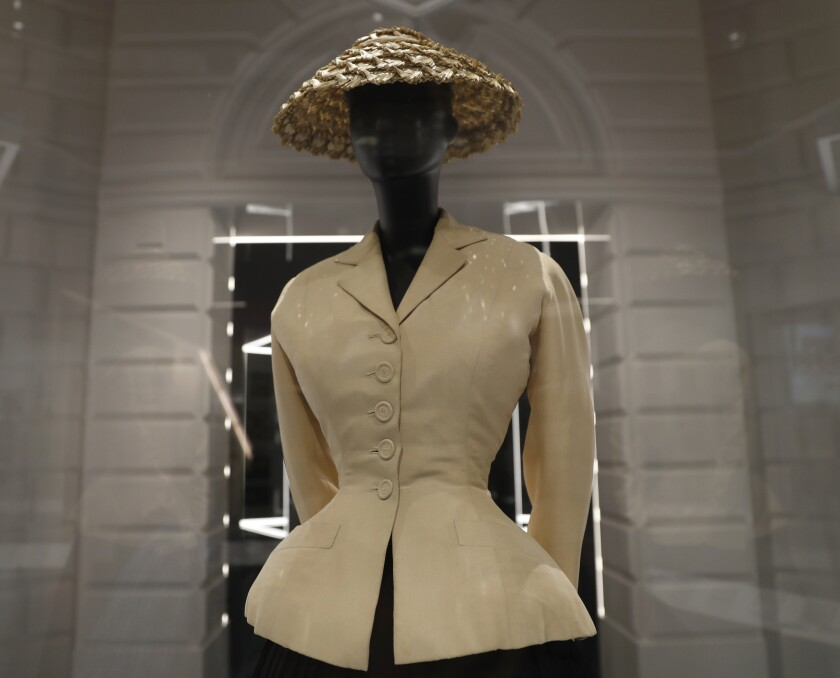 A Bar Suit and Hat made from silk, wool taffeta and straw, design by Christian Dior, Haute couture S