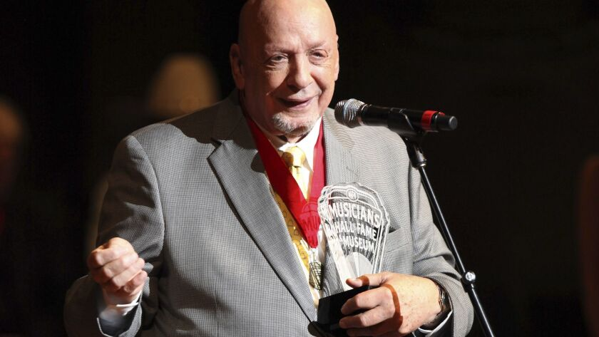 Fred Foster addresses the crowd after being inducted into the Musicians Hall of Fame in 2009.