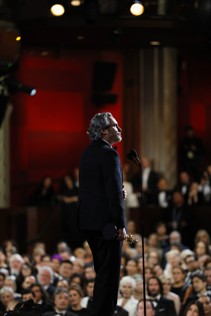 Joaquin Phoenix, as seen frombackstage during his acceptance speech at the Academy Awards.