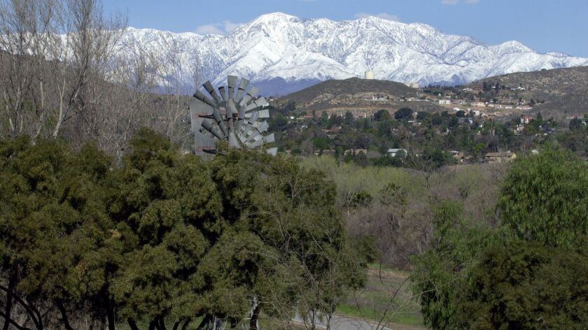 A view of the San Gabriel Mountains from Martha McLean Anza Narrows Park off Jurupa Avenue in Riverside. Police recovered remains, possibly of an infant, in the park late Thursday.