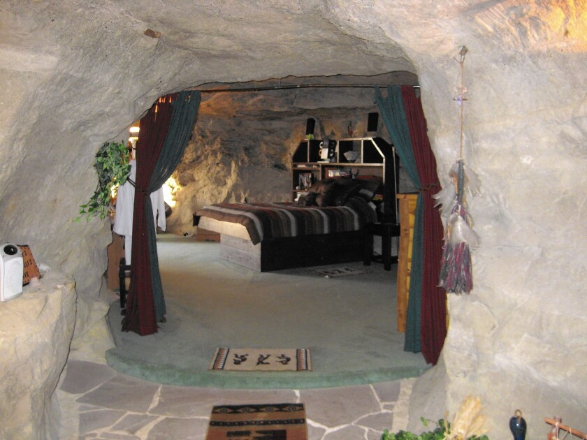 At Kokopelli's Cave in New Mexico, guests enjoy 1,700 square feet of living space cut into a sandstone cliff.