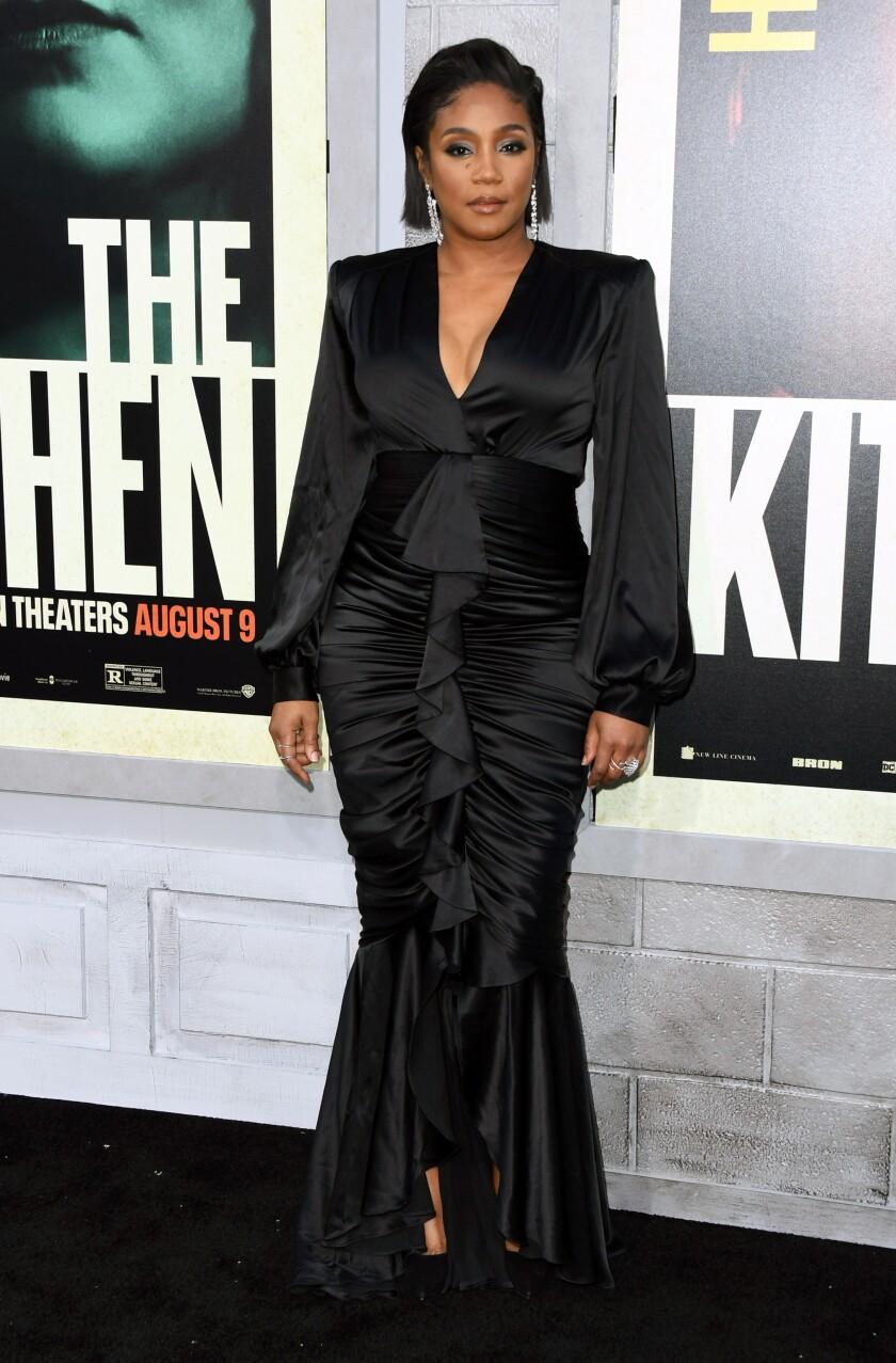 "Tiffany Haddish in a Galia Lahav dress at the premiere of ""The Kitchen"" in Hollywood."