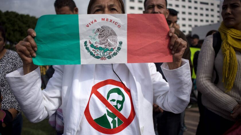 A protester in Tijuana shows her feelings about President Enrique Peña Nieto, whose image appears on her shirt.