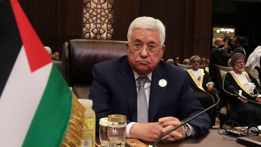 Palestinian President Mahmoud Abbas attends the summit of the Arab League at the Dead Sea, Jordan, W