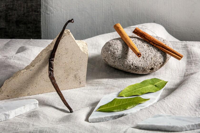 Flavorings for jam: vanilla bean, cinnamon stick and bay leaves.