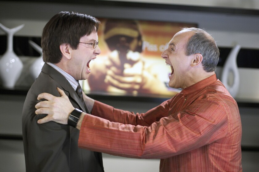 """Mark McKinney as Richard, left, with Colm Feore as Sanjay in """"Slings & Arrows,"""" a Canadian comedy set a Shakespeare festival."""