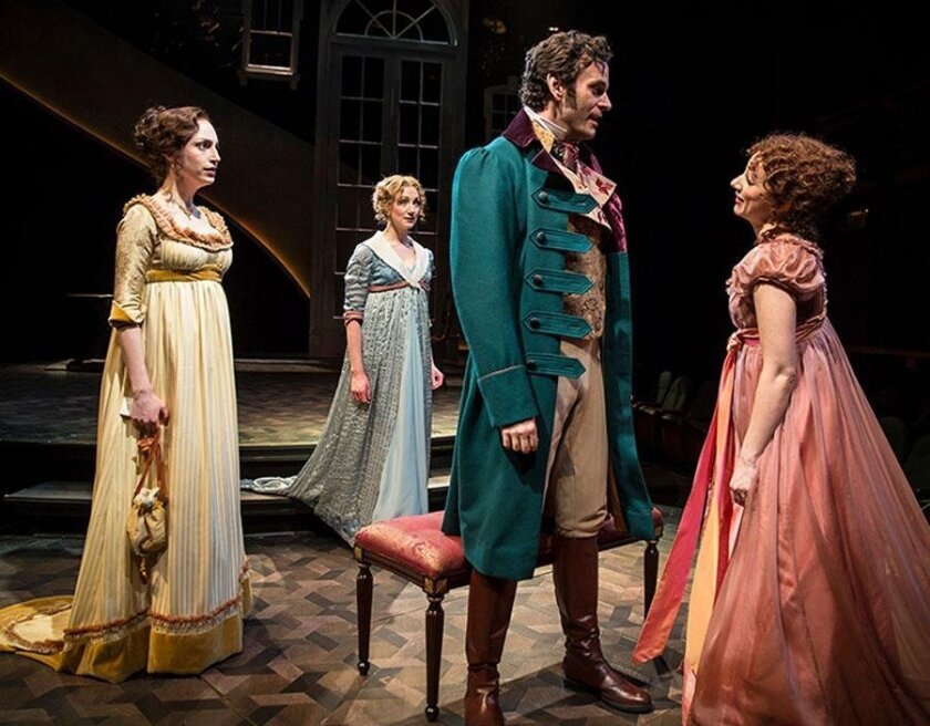 Emily Berman as Lucy Steele, Sharon Rietkerk as Elinor Dashwood, Wayne Alan Wilcox as Edward Ferrars, and Megan McGinnis as Marianne Dashwood in Chicago Shakespeare's 2015 production of 'Sense and Sensibility.' The Old Globe's production runs through Aug. 14.