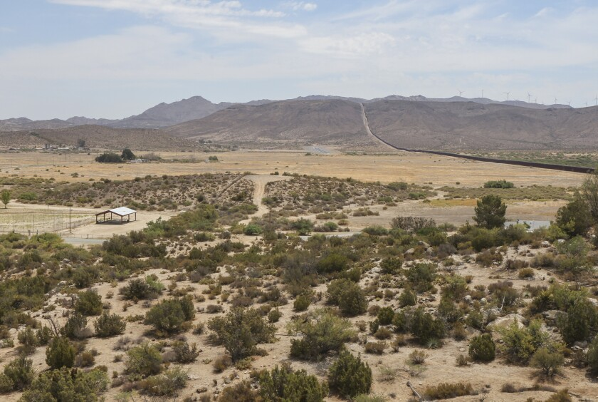 Site for the proposed solar energy park by energy company BayWa r.e. in the desert town of Jacumba Hot Springs.