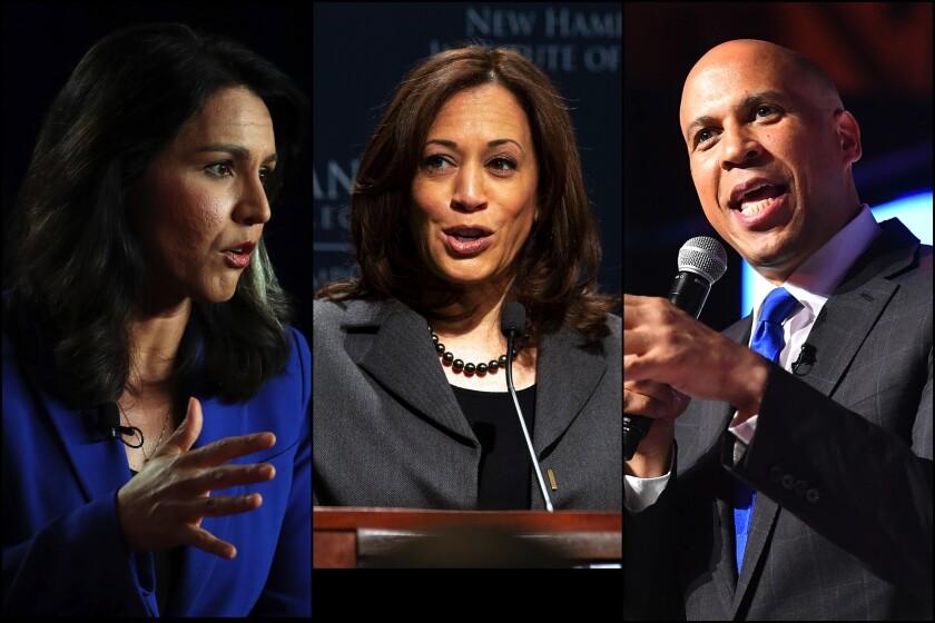 Presidential candidates Tulsi Gabbard, Kamala Harris and Cory Booker