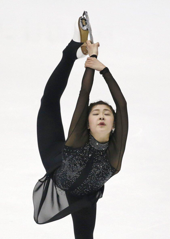 Kanako Murakami of Japan performs during the Ladies Short Program of the Taiwan ISU Four Continents Figure Skating Championships in Taipei, Taiwan, Thursday, Feb. 18, 2016. Miyahara finished second. (AP Photo/Wally Santana)