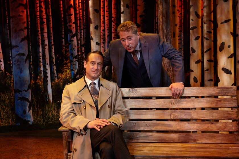 """J. Todd Adams, foreground, and David Ellenstein in North Coast Repertory Theatre's 2019 production of """"A Walk in the Woods."""""""