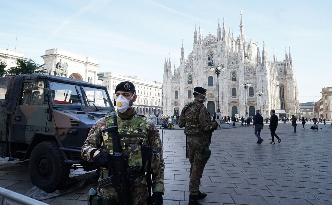 Italian soldier wearing mask