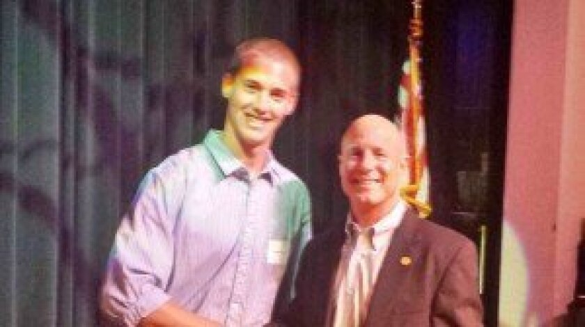 Del Mar-Solana Beach Rotary Founding President Kevin Cahill with CCA Scholarship winner Jackson Backer.