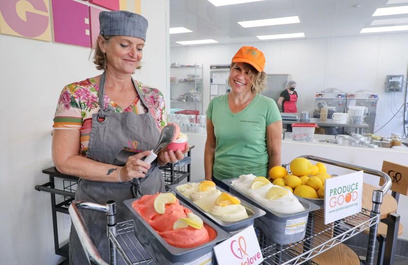 Paola Richard of GelatoLove in Carlsbad, left, and Nita Kurmins Gilson of ProduceGood.