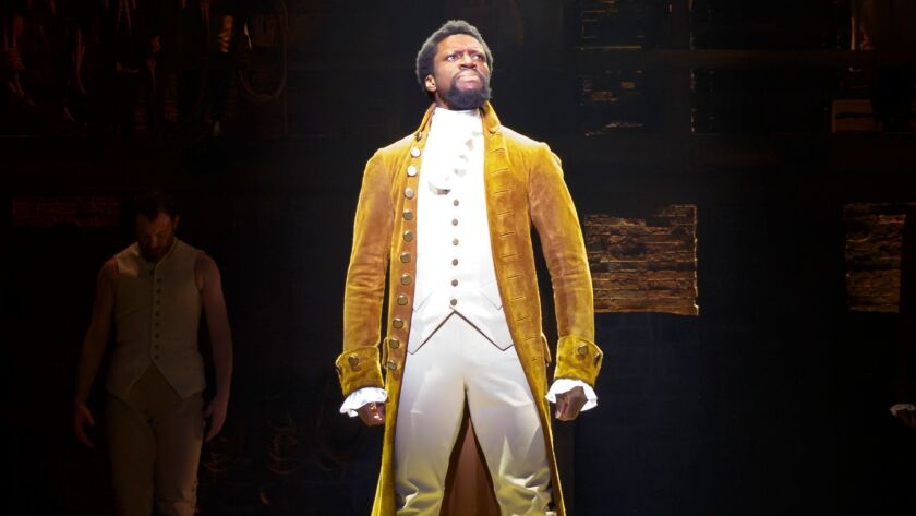 Michael Luwoye as Alexander Hamilton in the national tour that officially opens Wednesday at the Hollywood Pantages Theatre.