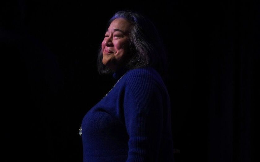 """Tina Tchen appears at a rally for Toni Preckwinkle at Northeastern Illinois University Feb. 23, 2019. Tchen, former chief of staff to first lady Michelle Obama, emailed State's Attorney Kim Foxx saying the Smollett's family had unspecified """"concerns about the investigation."""""""