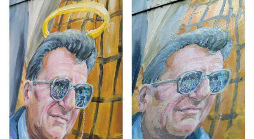 This combination of two photos shows a detail of a mural by Michael Pilato in State College, Pa., depicting a halo over the late Penn State football coach Joe Paterno on Jan. 23, left, and the halo removed by the artist on July 14.