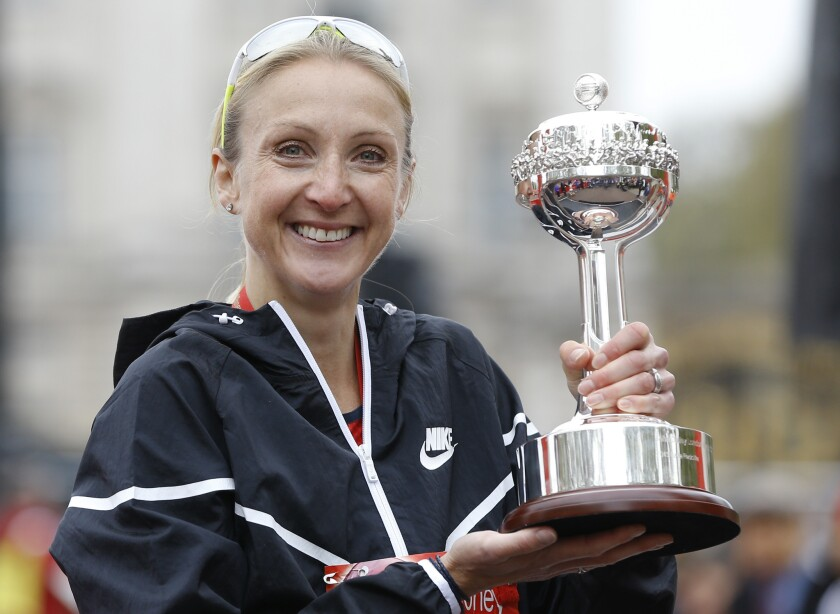 Paula Radcliffe after she was presented with a lifetime achievement award during the 35th London Marathon in April.