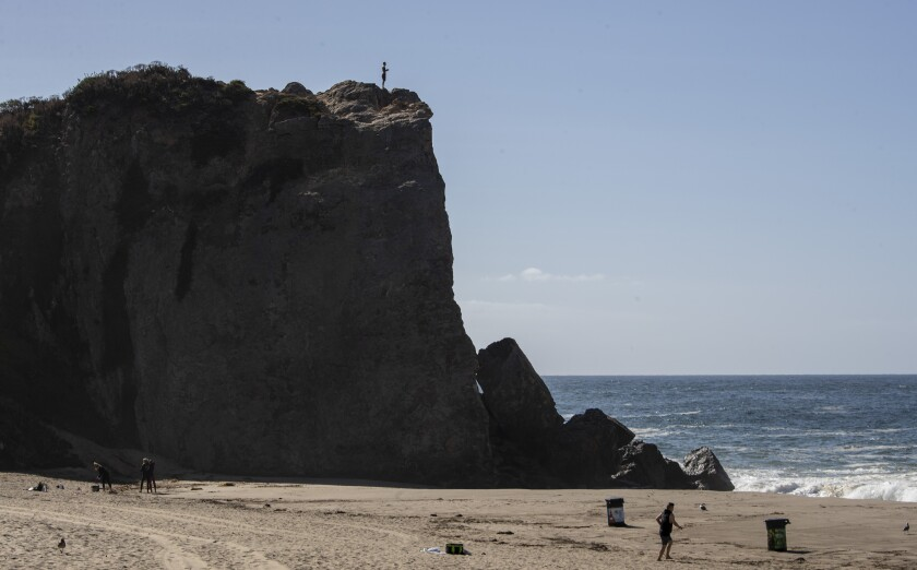 Point Dume in Malibu can be crowded with climbers on weekends.