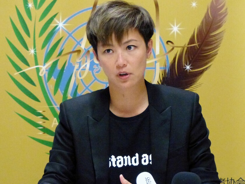 FIEL - In this July 8, 2019, file photo, Hong Kong pop singer Denise Ho speaks at the UN building in Geneva, Switzerland. Popular Hong Kong singer and pro-democracy activist Ho will not be allowed to perform at one of Hong Kong's top theaters later September, 2021, days after a pro-Beijing newspaper accused her of being anti-China. (AP Photo/Jamey Keaton)