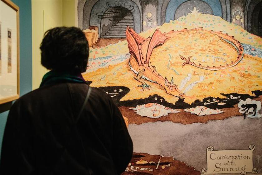 "A woman attends the ""Tolkien: Maker of Middle-earth"" exhibit, which opened on Jan. 25, 2019, and will run through May 12, 2019, at The Morgan Library & Museum in New York City. EPA-EFE/Alba Vigaray"