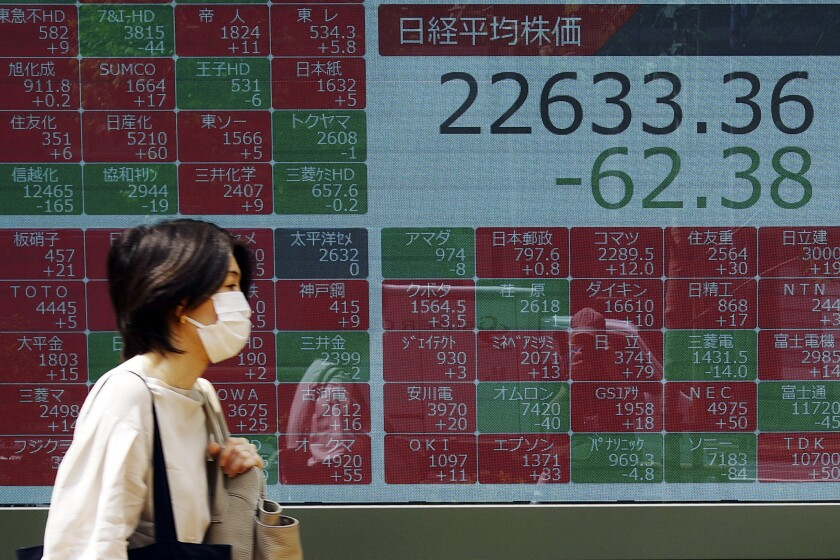 A woman walks past an electronic stock board showing Japan's Nikkei 225 index at a securities firm in Tokyo Friday, June 5, 2020. Asian markets are mostly lower after Wall Street rally takes a breather, as investors parse unemployment data. (AP Photo/Eugene Hoshiko)