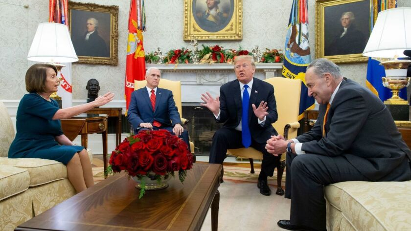 US President Donald J. Trump meets with US House Speaker-designate Nancy Pelosi and US Senate Minority Leader Chuck Schumer, Washington, USA - 11 Dec 2018