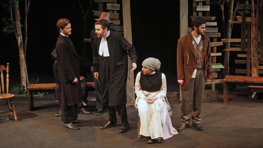 """Student actors at rehearsals for """"The Crucible"""" at The Colony in Burbank on Monday, April 8, 2019. T"""