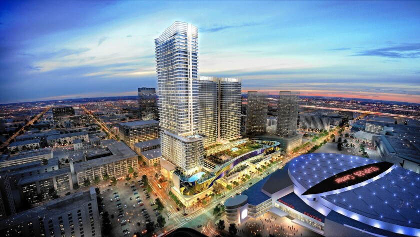 A rendering shows the planned $1-billion Oceanwide Plaza across from Staples Center in downtown Los Angeles.