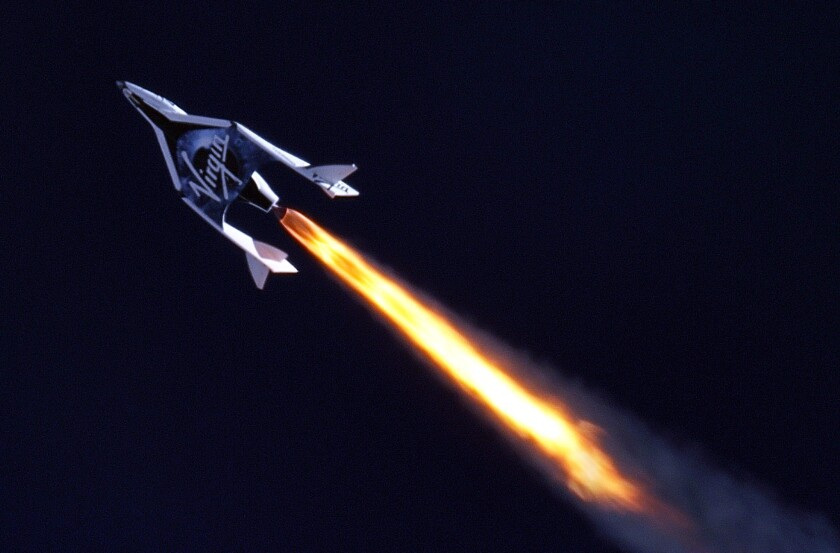 Virgin Galactic's SpaceShipTwo on a test flight.