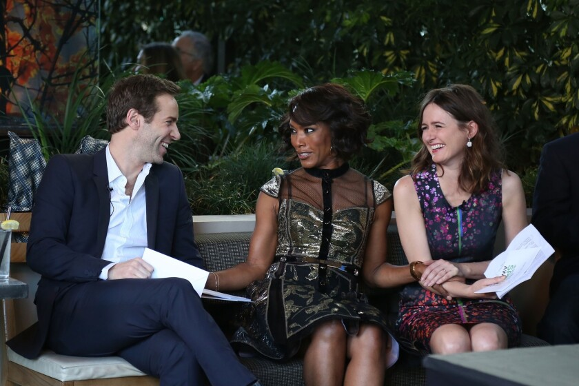 Hosts Alessandro Nivola, Angela Bassett, and Emily Mortimer attend the 2014 Film Independent Filmmaker Grant And Spirit Awards Nominees Brunch at BOA Steakhouse on Jan. 11, 2014 in West Hollywood.