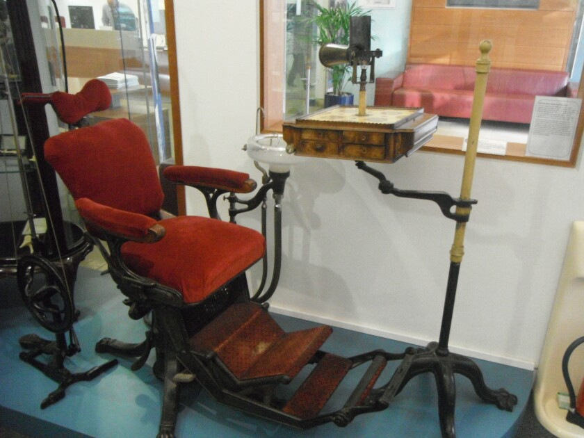 An early dental chair at the British Dental Museum, which will give you a greater appreciation for the modern-day practice.