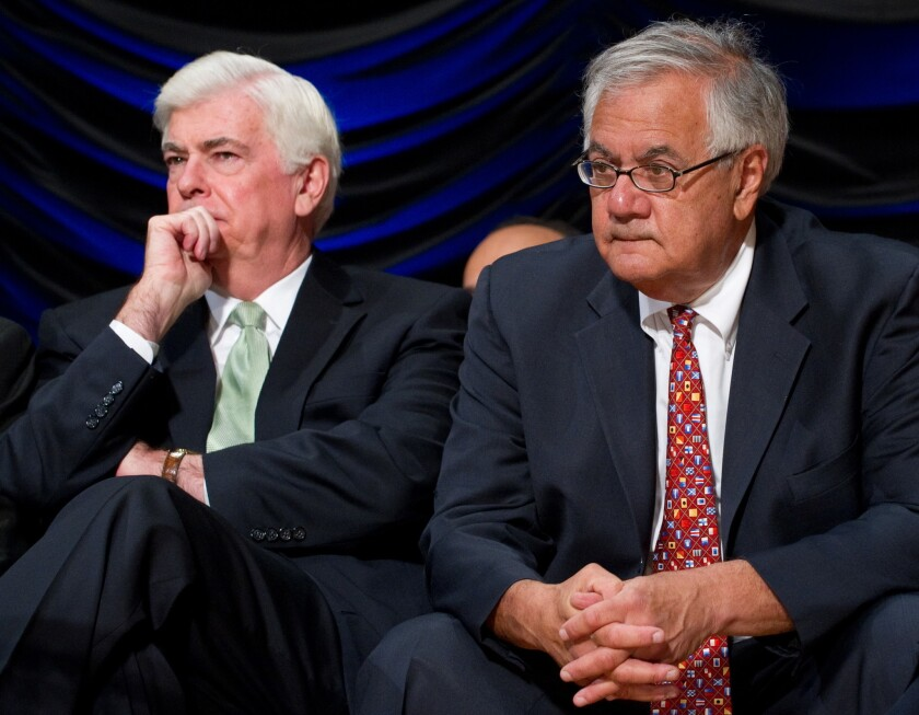 The Dodd-Frank Wall Street Reform Act is named after former Democratic Sens. Christopher J. Dodd, left, and Barney Frank, shown in 2010.