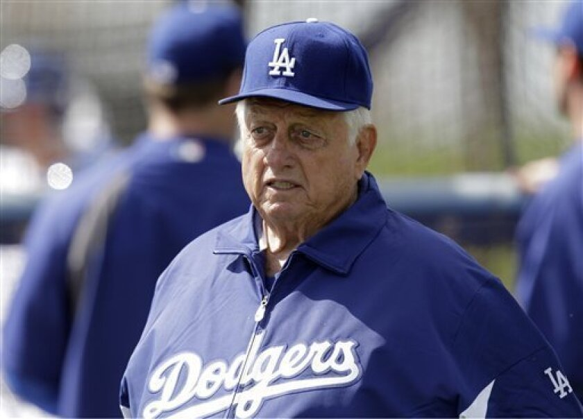 Hall of Fame manager Tommy Lasorda during a spring training baseball workout in 2012 in Phoenix.