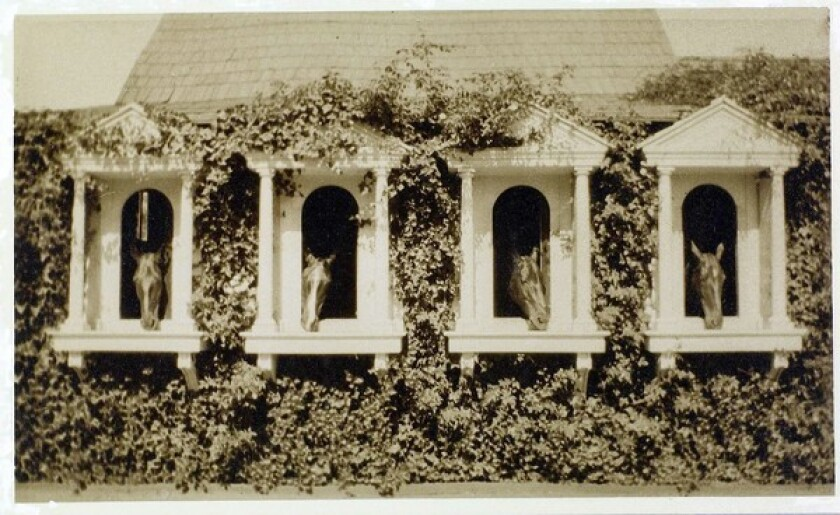 William Sanford Banning's horses lived in style with column and pediment windows and lush vines. Banning never drove a car.