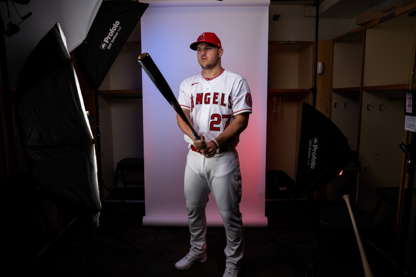 Angels outfielder Mike Trout (27) poses for a portrait during photo day at Tempe Diablo Stadium on Feb. 18.