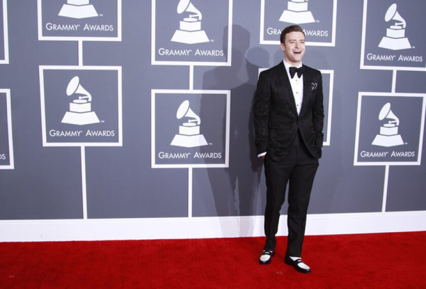 """Justin Timberlake arrives for the 55th Annual Grammy Awards. The actor-singer will host and perform on """"SNL"""" on March 9 and have a weeklong run on """"Late Night With Jimmy Fallon."""""""