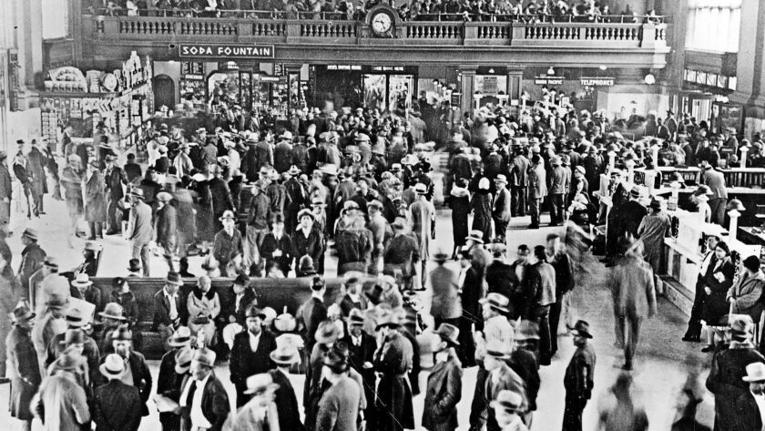 Hundreds of Mexican immigrants await deportation at a Los Angeles train station in 1932. The Great Depression prompted mass deportations in the 1930s and '40s.