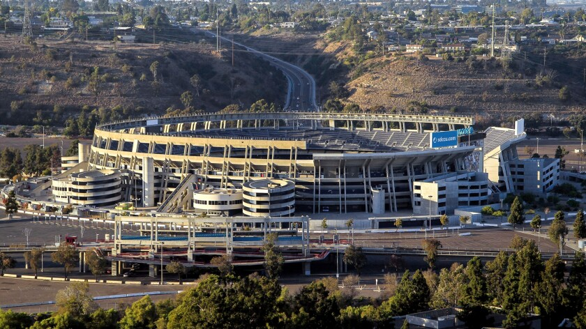 The SDCCU Stadium is part of the 135-acre site that San Diego State University plans to purchase from the city for more than $88 million following the approval in 2018 of Measure G, which authorized the sale.