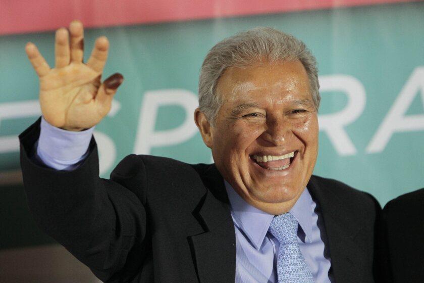 Salvador Sanchez Ceren, who was declared the winner of El Salvador's presidential election, at a news conference in San Salvador.