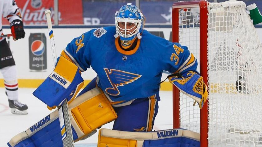 Blues goaltender Jake Allen has a .956 save percentage in the playoffs so far.
