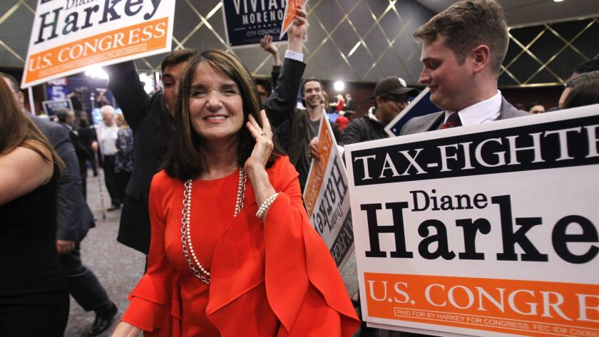 Diane Harkey, candidate for the 49th Congressional District, with her supporters in Golden Hall in San Diego in June.