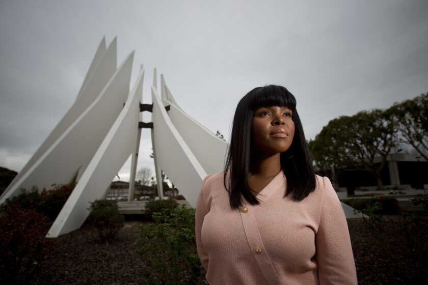 Compton Mayor Aja Brown in 2014 outside the Compton Civic Center.