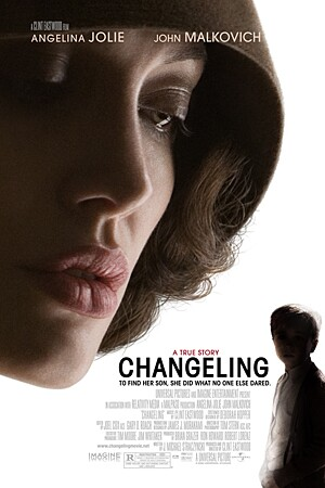 "By Stephanie Lysaght, Times Staff Writer 'Changeling' A close-up shot of Angelina Jolie's flawless face dominates the ""Changeling"" poster. From the corner of the page, a small boy gazes outward, frightened. And with good reason. Angie's gargantuan floating head could swallow him whole. This is hardly the first time Angie's visage has been blown up to elephantine proportions on a movie ad. In fact, posters for Angie's films almost invariably resemble this ""Changeling"" billboard. The message? Come watch 90 minutes of these gently arched brows, gray cat eyes and pursed pink lips. You won't even care what the movie is about."