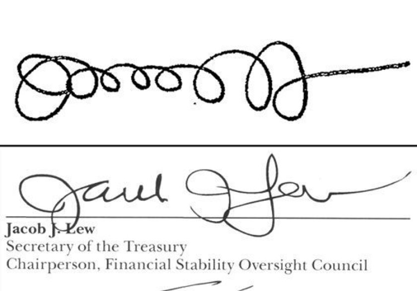 This combination shows the signatures of Treasury Secretary Jacob Lew from a Sept. 21, 2011 memo posted on the White House website when he was Office of Management and Budget director, top, and as Treasury Secretary on the 2013 annual report for the Financial Stability Oversight Council, bottom. (AP Photo)