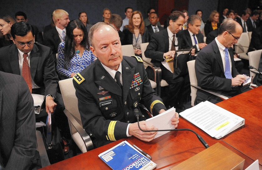 """We need to recognize that those who are working to protect our nation are not the bad people,"" Gen. Keith Alexander, who led the National Security Agency for nine years, said in a recent interview. Above, he testifies before a House panel last year."