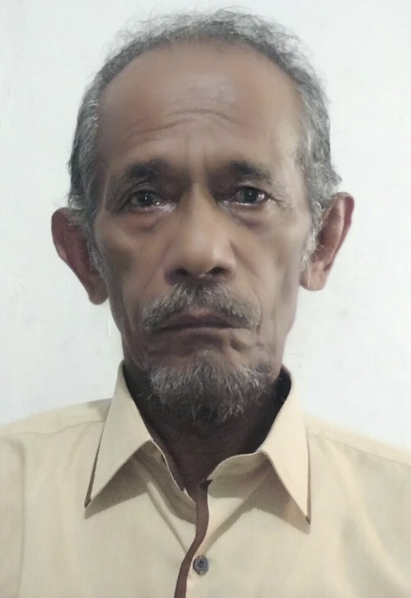 Associated Press journalist Ali Kotarumalos sits for a portrait in Jakarta, Indonesia, in 2018. Kotarumalos, who worked as a newsperson at the Jakarta bureau of the Associated Press for more than three decades, passed away on Wednesday, September 9, 2020 after battling can cer. He was 68. (AP Photo/Achmad Ibrahim)